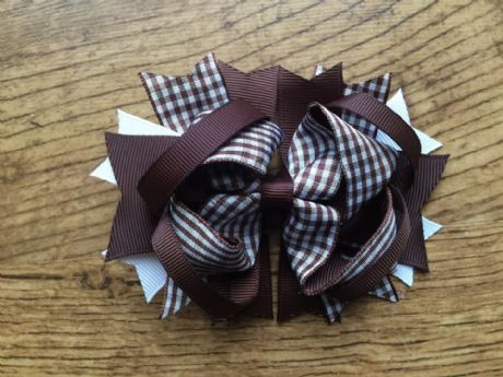 1 x 4.5 INCH BROWN GINGHAM SCHOOL COLOURS RING HAIR BOW WITH ALIGATOR CLIP LOOK SALE